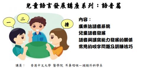 免費言語治療講座-兒童語言發展講座系列-語音篇-香港中文大學